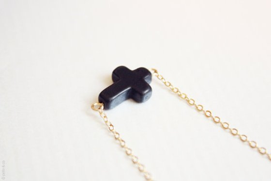 cross necklace black