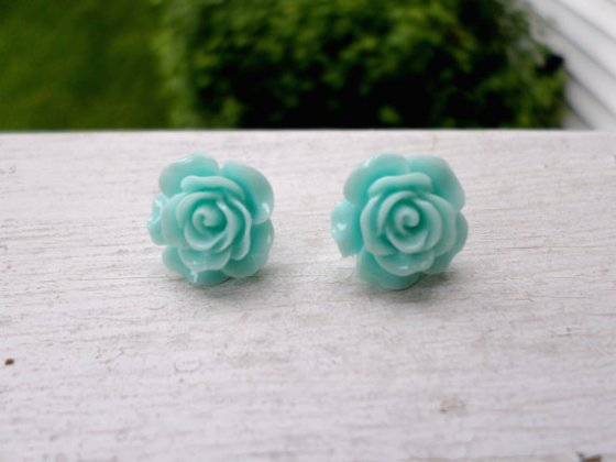 teal rose earrings