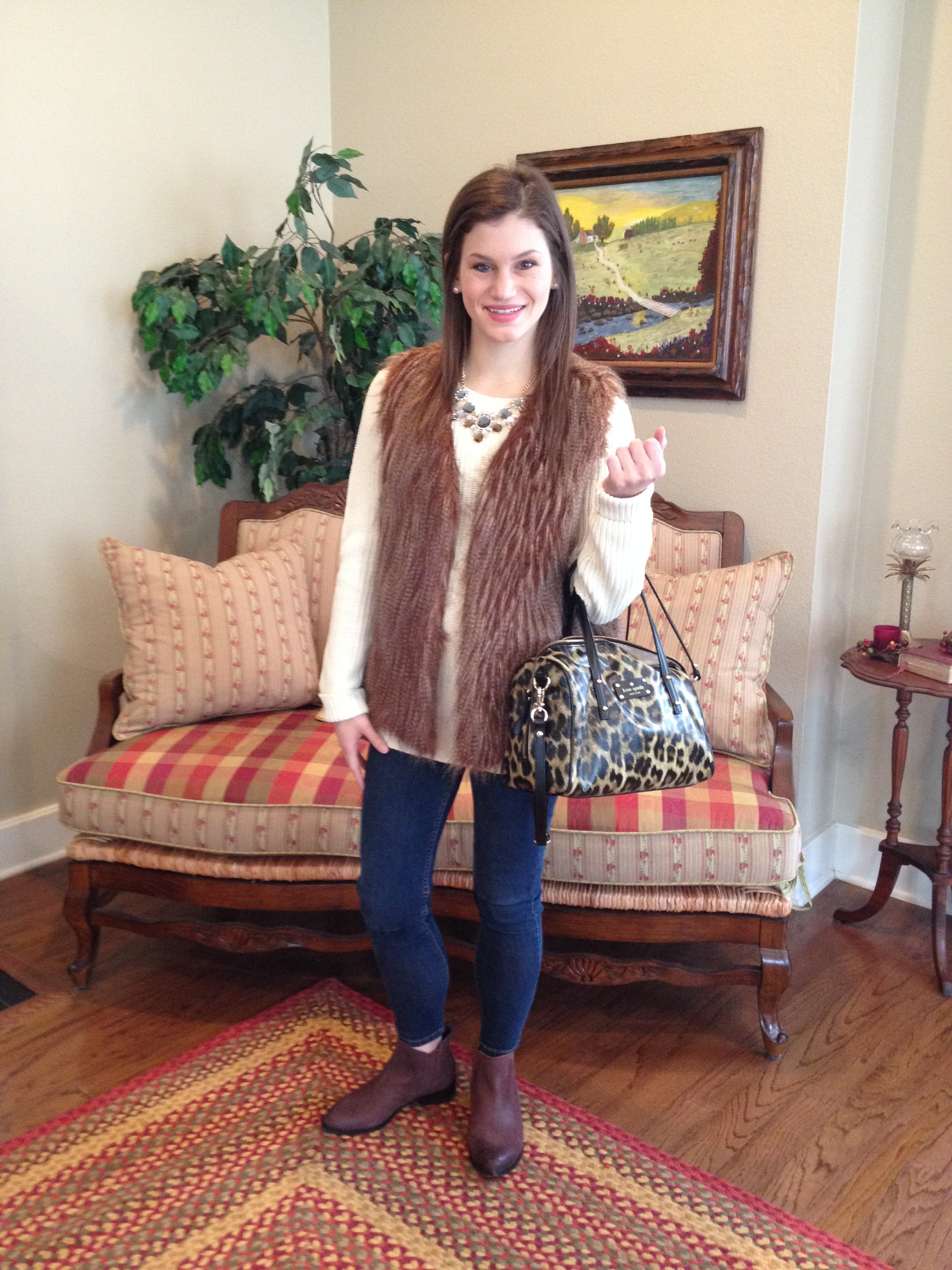 Sweater: JCPenney(only $14.99!), Vest: Francesca's, Necklace: Marley Lillyc/o, Purse: Kate Spade, similar, Booties: Gianni Bini